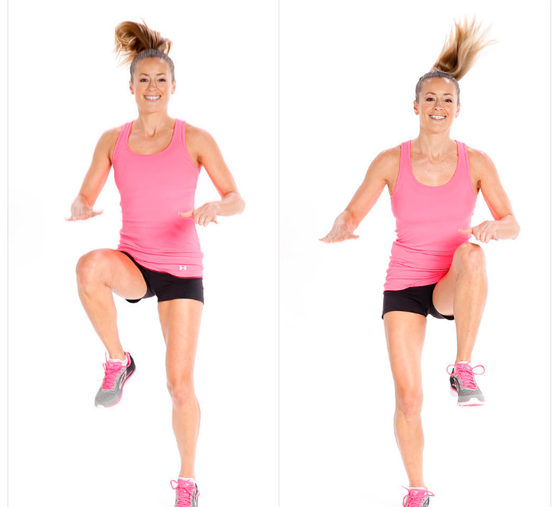 Mujer saltando rodillas