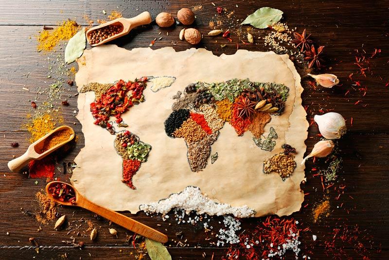 alimentos formando mapamundi