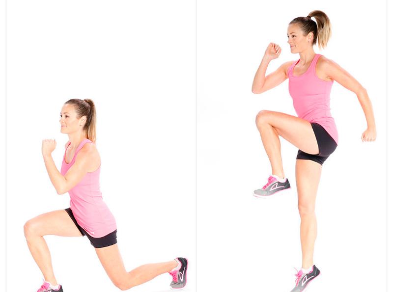 mujer saltando con zancada