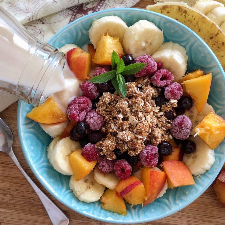 Fruta con avena post-entrenamiento