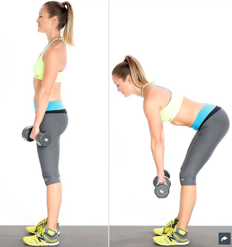 mujer ejercicio peso muerto